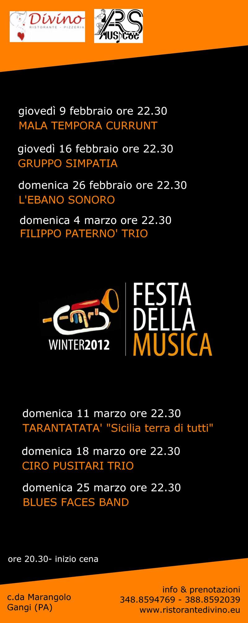 Locandina rassegna Festa della Musica 2012 winter